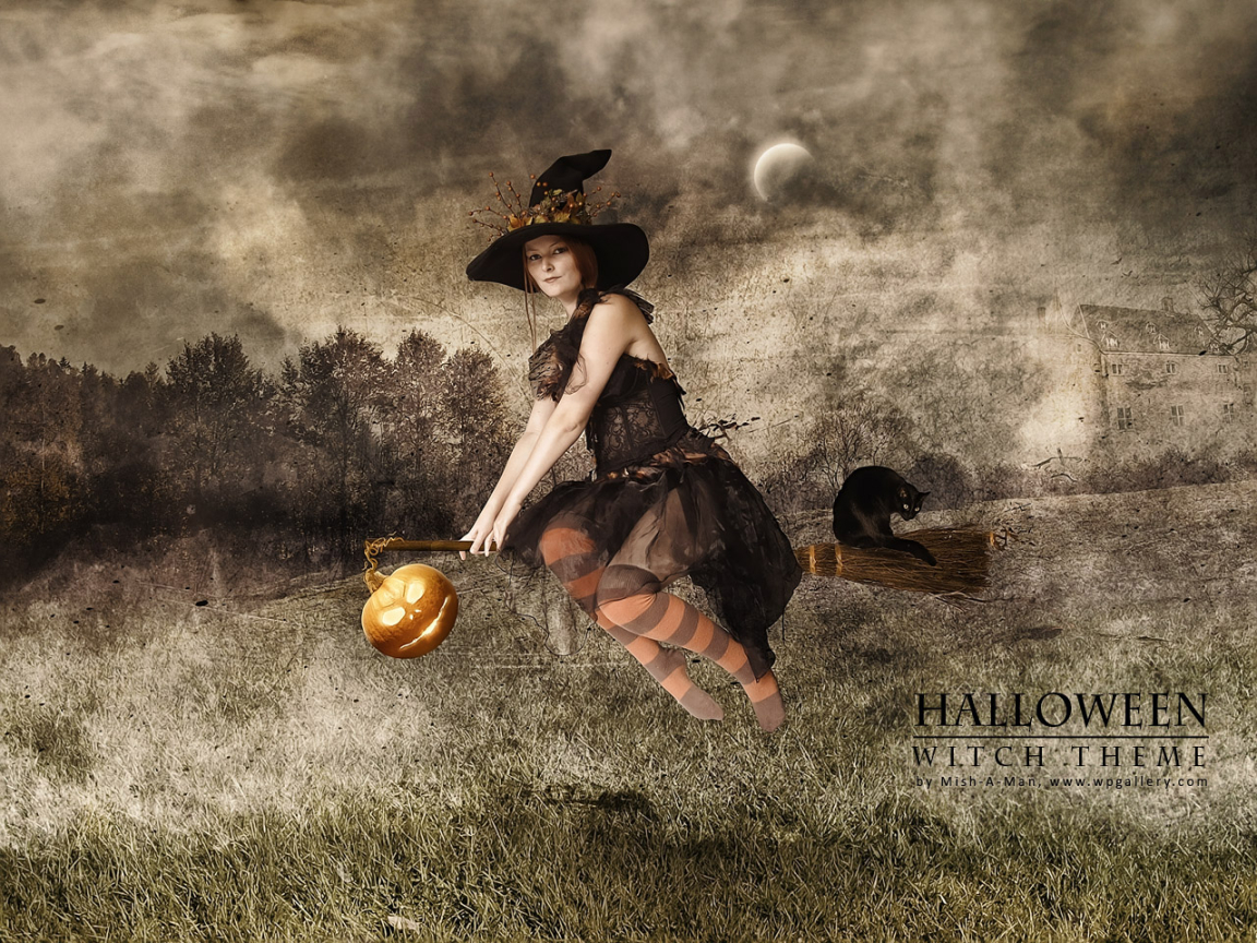 Halloween - Witch theme for 1152 x 864 resolution